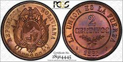 Bolivia Republic 1883-a 2 Centavos Coin Choice Uncirculated Certified Pcgs Ms64