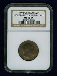 Great Britain Edward Vii 1902 Half Penny, Uncirculated, Certified Ngc Ms65-bn