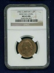 Great Britain Edward Vii 1902 Half Penny, Uncirculated, Certified Ngc Ms65-rb