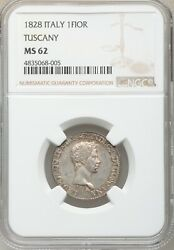 Italy / Italian States Tuscany 1828 1 Fiorino Silver Coin Ngc Certified Ms62