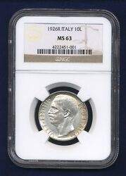 Italy Kingdom 1926-r 10 Lire Silver Coin Choice Uncirculated Certified Ncg Ms63