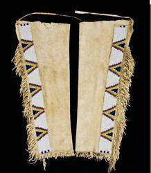 Natives American Suede Leather Cowboy Sioux Indian Beaded Hide Leggings