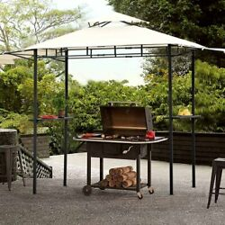 12ft Steel 2-tiered Patio Bbq Grill Gazebo Tent W/ Bar Counters Extended Sheds