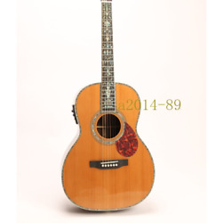 Electric Acoustic Guitar Md00045 Solid Red Spruce Top Full Abalone Inlay