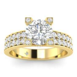 1.45ct D-vs2 Diamond Pave Engagement Ring 14k Yellow Gold Any Size