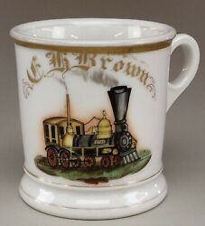 Very Early Style Railroad Occupational Shaving Mug With Brush.