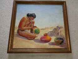 Impasto Painting Young Native American Indian Man Sitting Painting Pottery Blue