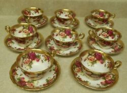 Royal Chelsea Golden Rose English Bone China Gold Tea Cup And Saucer Set Of 8
