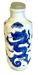 Antique Chinese Porcelain Blue And White Handpainted Dragon Snuff Bottle