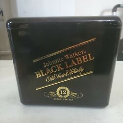 Johnnie Walker Black Label Ice Bucket Gold On Black - Gaskell And Chambers England