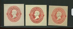 Uo64-uo66 War Dept Unused Cut Square Set Of 3 On White, Amber And Cream By 613