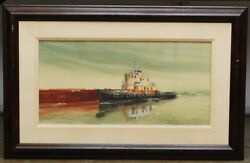 Frank Loudin Signed Watercolor Painting Boat In Harbor Tugboat Captain William