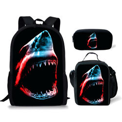 3pc Shark Backpacks School Large for Teens Pencil Case Insulated Lunch Box Bags $34.99