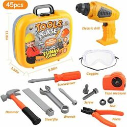 Tool Set With Electric Drill, Goggles And 44 Pieces Construction Workbench Tool