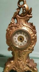 Ancient Antique 1900s Table Fireplace Clocks Europe Metal Alloy Decor Collectibl