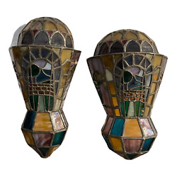 Pair Of Antique Art Deco Wall Lamps 1920 Leaded And Decorated Glass
