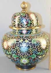 Beautiful Asian Chinese Bronze Cloisonne Ginger Jar 13and039and039high