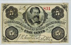 1860s Scottand039s Nine Hundred Us Cavalry 5c Obsolete Currency Sutler Scrip