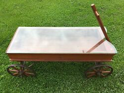 Antique 1915 Chicago Auto Wheel Coaster Childs Toy Wood Wagon Coffee Table Brake