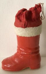 Antique Germany Red Santa Boot Papier-mandacircchandeacute Christmas Candy Container Red Cloth