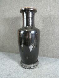 Antique 1800s Chinese Black Mirror Vase Large 19 Inch Height