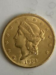 1904 20 Gold Liberty Double Eagle Gold Coin