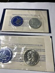 1971and1972-s Eisenhower 40 Silver Dollar Uncirculated Envelope And Coa 2
