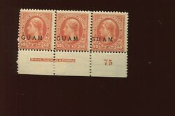 Guam 11 Overprint Mint Plate Strip Of 3 Stamps Stock By 714