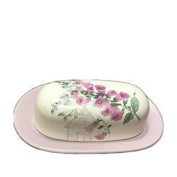 Pfaltzgraff Cape May Butter Dish With Lid Pink Floral Fence Bird House 1/2 Lb