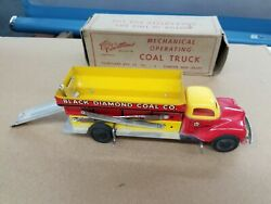 Vintage 1950and039s Courtland Tin Wind-up Mechanical Operating Coal Truck Nmib E4