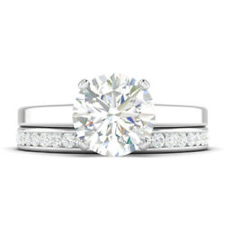 1.21ct H-vs1 Diamond Cathedral Engagement Ring 18k White Gold Any Size