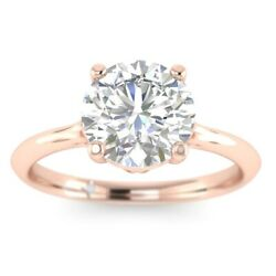 1ct D-vs1 Diamond Cathedral Engagement Ring 18k Rose Gold Any Size