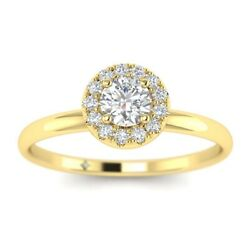 1.15ct D-vs1 Diamond Round Engagement Ring 18k Yellow Gold Any Size