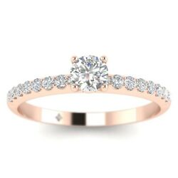 1.14ct D-vs1 Diamond Pave Engagement Ring 18k Rose Gold Any Size