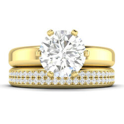 1.6ct D-vs1 Diamond Wide Engagement Ring 14k Yellow Gold Any Size