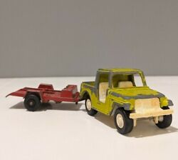 1969 Tootsie Toy Vintage Jeep And Trailer Metal Die Cast Chicago Ill Tootsietoy