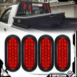 Universal 4x 6 Oval 24-led Trailer Tail Lights Red Turn Stop Brake Tow Truck Rv