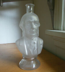 1880s Rare William Gladstone Figural Frosted Bust Bottle Hand Blown Pontiled