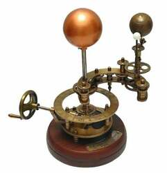 Vintage Brass Solar System Orrery Wooden Base Sun, Earth And Moon Fully Handmade