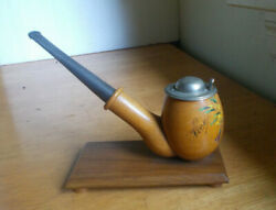Antique Wood Pipe Inkwell With Mouthpiece Being Steel Pen Hand Painted Nice