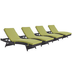 Modway Convene Wicker Rattan Outdoor Patio Chaise Lounge Chairs In Espresso P...