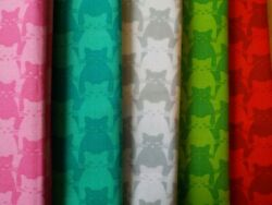Cat Cotton Fabrics Fat Quarters 18quot; X 21quot; Choice of 5 Colors Kitty Kitty