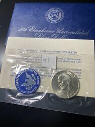1972-s Eisenhower 40 Silver Dollar Uncirculated Envelope And Coa 1 Very Nice