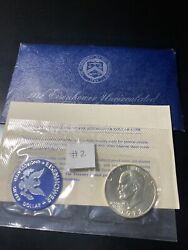 1972-s Eisenhower 40 Silver Dollar Uncirculated Envelope And Coa 2 Very Nice