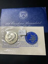 1972-s Eisenhower 40 Silver Dollar Uncirculated Envelope And Coa 3 Very Nice