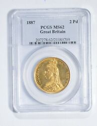 Ms62 1887 Great Britain 2 Pounds World Gold Coin - Graded Pcgs 2745