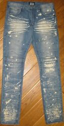 Smoke Rise Distressed Mens Jeans 34 X 36 Tag Says 34x34 Zip Fly Paint Splatter