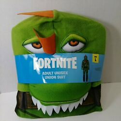 Fortnite Union Suit Green Rex Adult Unisex Hooded Dragon Costume L New Cosplay