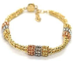 Gold Bracelet Yellow Rose And White 18k 750 Double Row Spheres Faceted