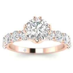 2ct F-si1 Diamond Shared Prong Engagement Ring 14k Rose Gold Any Size
